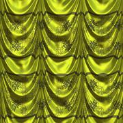 Green curtain with pattern Stock Illustration
