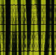 Green curtain with pattern - stock illustration