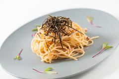 Pasta in Japanese style - stock photo