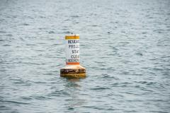 research project buoy stay clear in water - stock photo