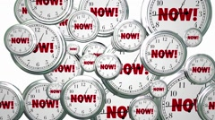 Now Word Flying Clocks Urgent Action Needed Stock Footage