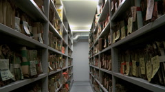 Old Archive shelving  Travelling Stock Footage