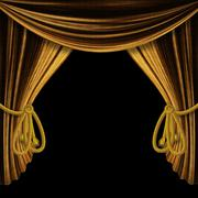 Opened gold curtains on black background - stock illustration