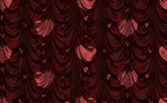 Red curtain with heart pattern - stock illustration