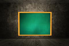 Room with chalkboard of green color - stock illustration