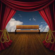 Stage with bench - stock illustration