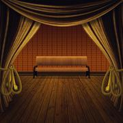 Stage with golden curtains - stock illustration