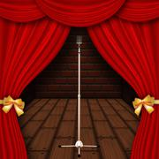 Stage with red curtains - stock illustration