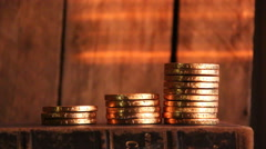 Gold coin stack Stock Footage