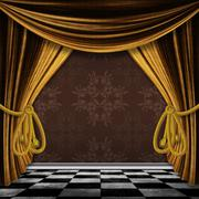 Vintage background with gold curtains Piirros