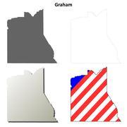 Graham County, Arizona outline map set - stock illustration