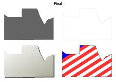 Stock Illustration of Pinal County, Arizona outline map set