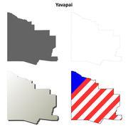 Yavapai County, Arizona outline map set - stock illustration
