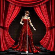 Woman in red on stage - stock illustration