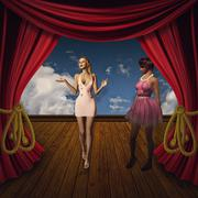 Stock Illustration of Women on theater stage