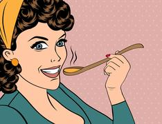 pop art retro woman with apron tasting her food - stock illustration