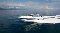 Motorboat in navigation, motor boat, aerial view Arkistovideo