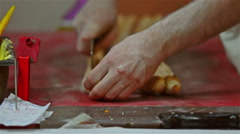 Cutting of Turkish pide Stock Footage