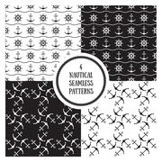 Seamless nautical patterns set - stock illustration