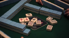 Majiang,mahjong,automatic Mahjong desk,family day,canton,china - stock footage