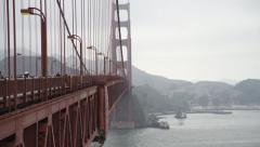 On the Golden Gate Bridge with Pedestrian and vehicular traffic Stock Footage