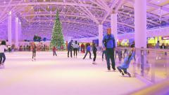 "Visitors rink in the shopping center ""Aviapark"" in Moscow Stock Footage"