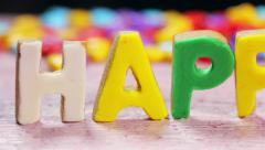 Happy birthday letters from biscuits Stock Footage