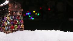 Old burning lamp for Christmas Stock Footage