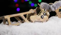 Christmas toys sleds and skates Stock Footage