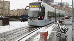 Modern composition tram on the streets of Moscow. Stock Footage