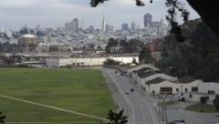 Crissy Field in the Presidio with San Francisco skyline in background Stock Footage