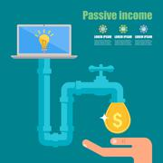 Passive income concept. Cartoon vector illustration. Tap with golden dollar - stock illustration