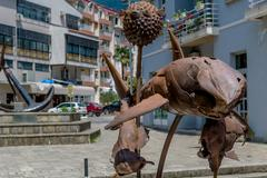 Tivat rusty metal fish monument Stock Photos