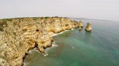 Aerial footage Lagos, Ponta da Piedade, Algarve Stock Footage