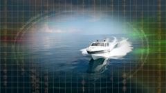 Motorboat in navigation, motor boat, aerial view - stock footage
