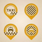 Flat style gps pointers with taxi elements Stock Illustration