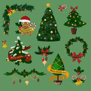 Christmas tree flat icons set Stock Illustration