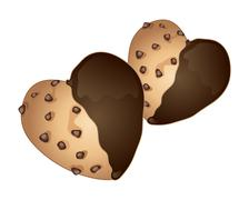 heart shaped cookies - stock illustration