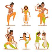 Indian women and man dancing vector isolated - stock illustration