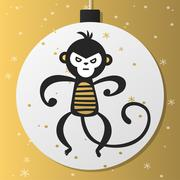 Chinese New Year monkey vector decoration ball icon - stock illustration