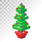 Stock Illustration of Christmas tree flat 3d isometric pixel art icon