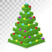 Christmas tree flat 3d isometric pixel art icon - stock illustration