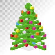 Stock Illustration of Christmas tree flat 3d isometric pixel art icon
