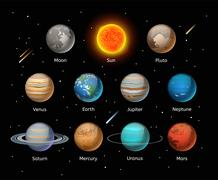 Planets colorful vector set on dark background Stock Illustration
