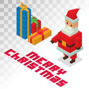Santa Claus, gift box sometric 3d icons vector illustration - stock illustration