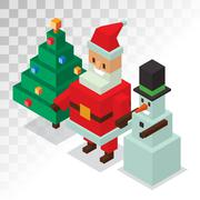 Santa Claus, snowman icons isometric 3d  vector illustration - stock illustration