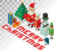 Santa, Missis Claus, helpers family isometric 3d  icons vector illustration - stock illustration