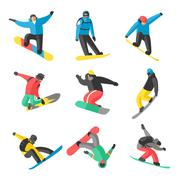 Stock Illustration of Snowboarder jump in different pose on white background