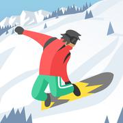 Stock Illustration of Snowboarder jumping pose on winter outdoor background