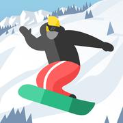 Snowboarder jumping pose on winter outdoor background - stock illustration